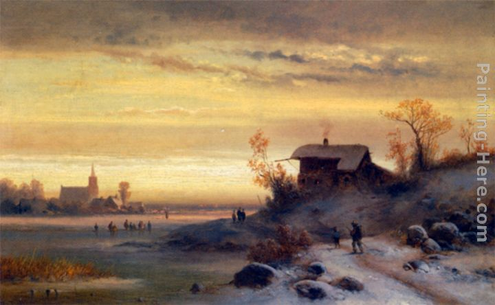 Figures in a Winter Landscape painting - Anton Doll Figures in a Winter Landscape art painting