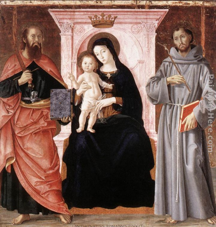 Madonna Enthroned with the Infant Christ and Saints painting - Antoniazzo Romano Madonna Enthroned with the Infant Christ and Saints art painting