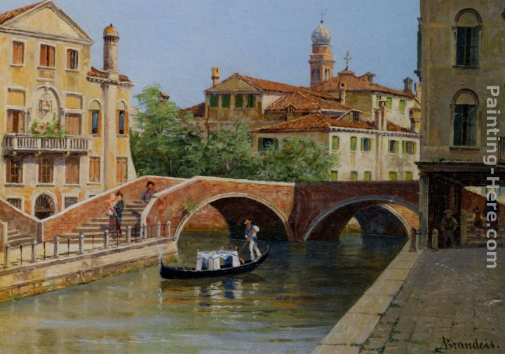 A Venetian Bridge painting - Antonietta Brandeis A Venetian Bridge art painting