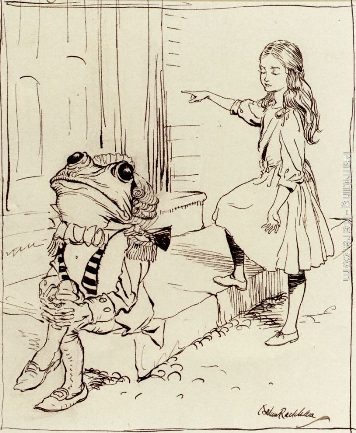 Arthur Rackham Alice And The Frog Footman Art Painting