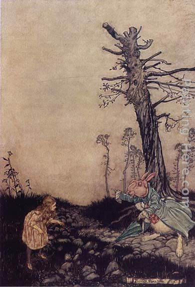 Arthur Rackham Alice in Wonderland Down the Rabbit Hole Art Painting