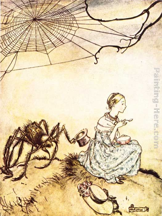 Mother Goose Little Miss Muffet painting - Arthur Rackham Mother Goose Little Miss Muffet art painting