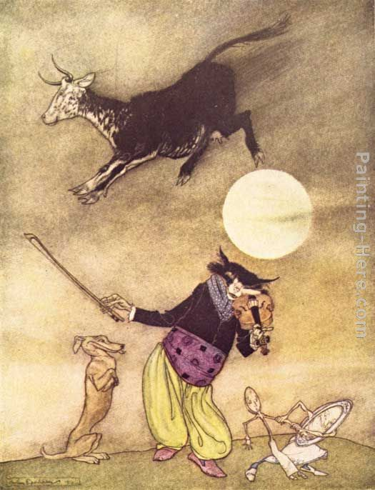 Arthur Rackham Mother Goose The Cow Jumped Over the Moon Art Painting