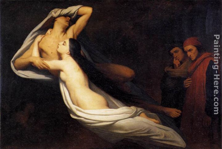 The Ghosts of Paolo and Francesca Appear to Dante and Virgil painting - Ary Scheffer The Ghosts of Paolo and Francesca Appear to Dante and Virgil art painting
