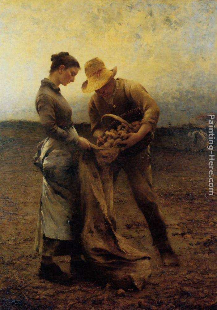 Potato Gatherers painting - August Wilhelm Nikolaus Hagborg Potato Gatherers art painting