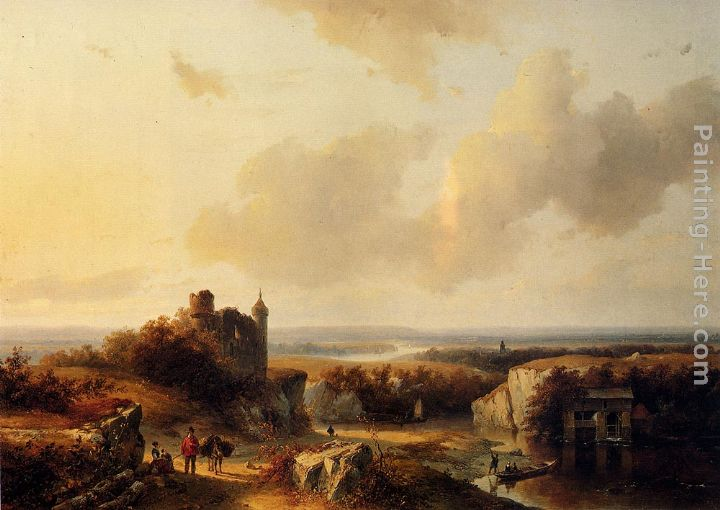 AnExtensive River Landscape With Travellers On A Path And A Castle In Ruins In The Distance painting - Barend Cornelis Koekkoek AnExtensive River Landscape With Travellers On A Path And A Castle In Ruins In The Distance art painting
