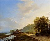 A Summer Landscape With Travellers On A Path