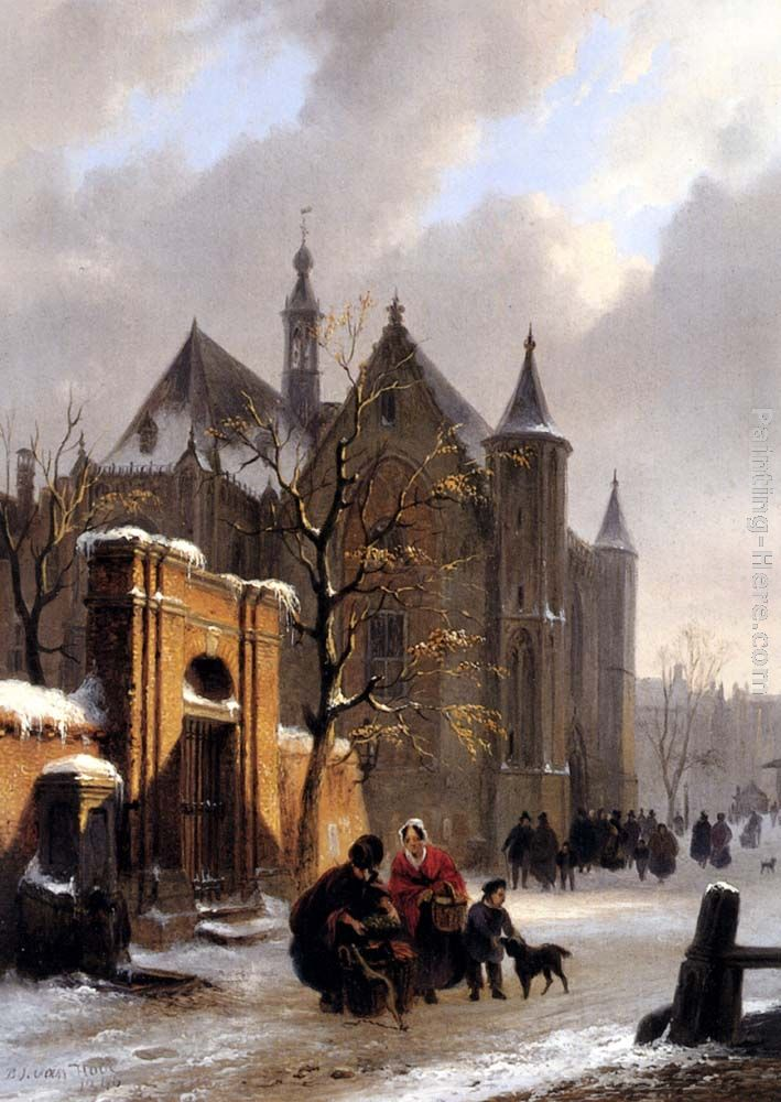 A Capricio View With Figures Leaving A Church In Winter painting - Bartholomeus Johannes Van Hove A Capricio View With Figures Leaving A Church In Winter art painting