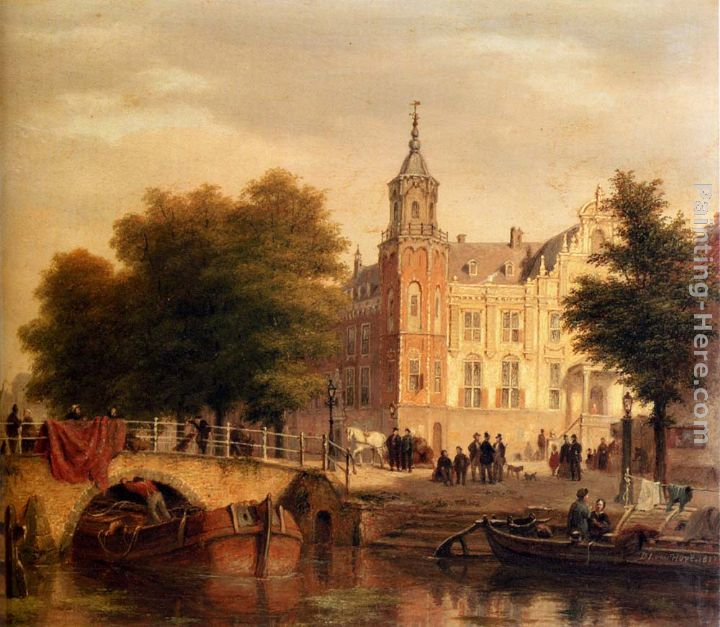 A Sunlit Townview With Figures Gathered On A Square Along A Canal painting - Bartholomeus Johannes Van Hove A Sunlit Townview With Figures Gathered On A Square Along A Canal art painting