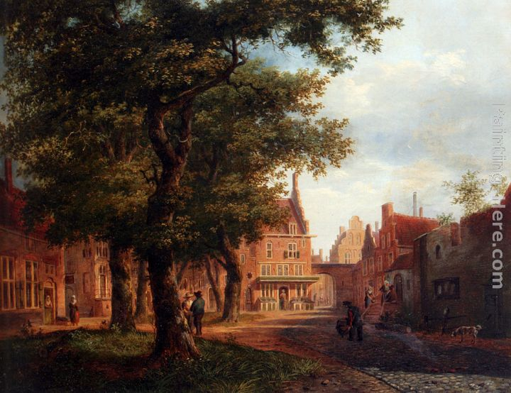 A Village Square With Villagers Conversing Under Trees painting - Bartholomeus Johannes Van Hove A Village Square With Villagers Conversing Under Trees art painting