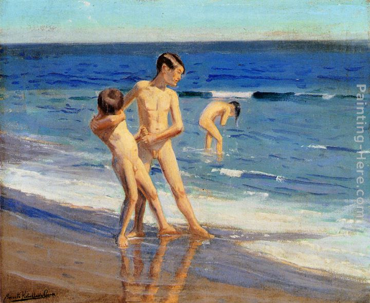 Boys At The Beach painting - Benito Rebolledo Correa Boys At The Beach art painting