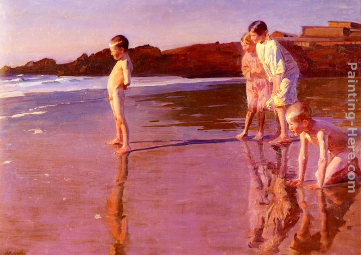Children On The Beach At Sunset, Valencia painting - Benito Rebolledo Correa Children On The Beach At Sunset, Valencia art painting