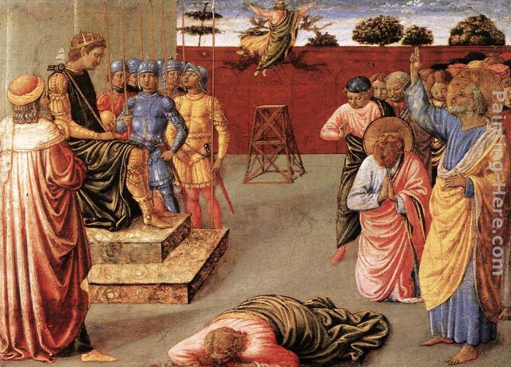 Fall of Simon Magus painting - Benozzo di Lese di Sandro Gozzoli Fall of Simon Magus art painting