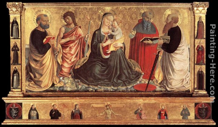 Madonna and Child with Sts John the Baptist, Peter, Jerome, and Paul painting - Benozzo di Lese di Sandro Gozzoli Madonna and Child with Sts John the Baptist, Peter, Jerome, and Paul art painting