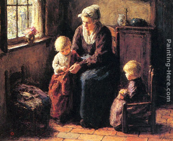 The Sewing Lesson painting - Bernard Jean Corneille Pothast The Sewing Lesson art painting
