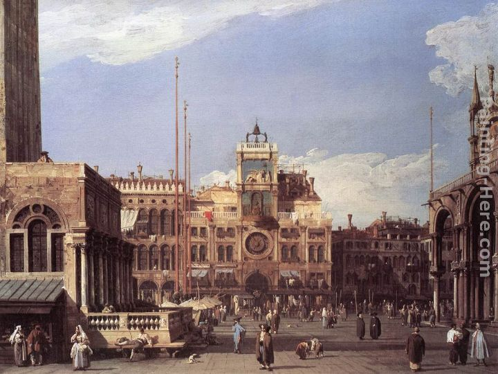 Piazza San Marco the Clocktower painting - Canaletto Piazza San Marco the Clocktower art painting
