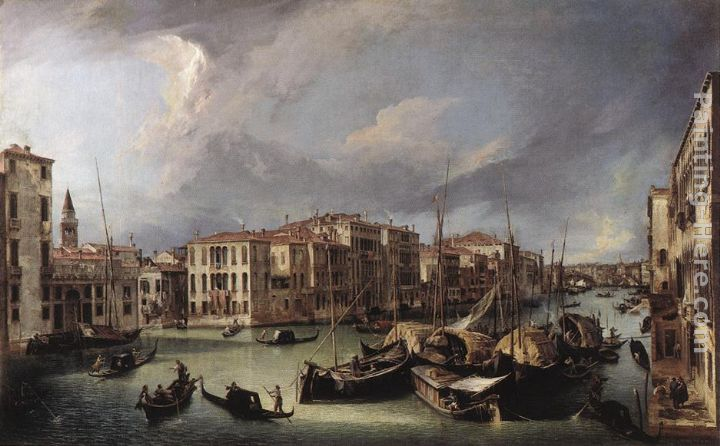The Grand Canal with the Rialto Bridge in the Background painting - Canaletto The Grand Canal with the Rialto Bridge in the Background art painting