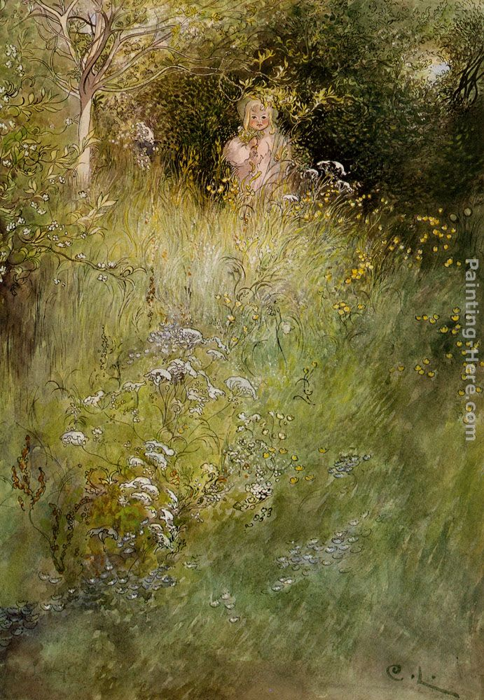 A Fairy, or Kersti, and a View of a Meadow painting - Carl Larsson A Fairy, or Kersti, and a View of a Meadow art painting