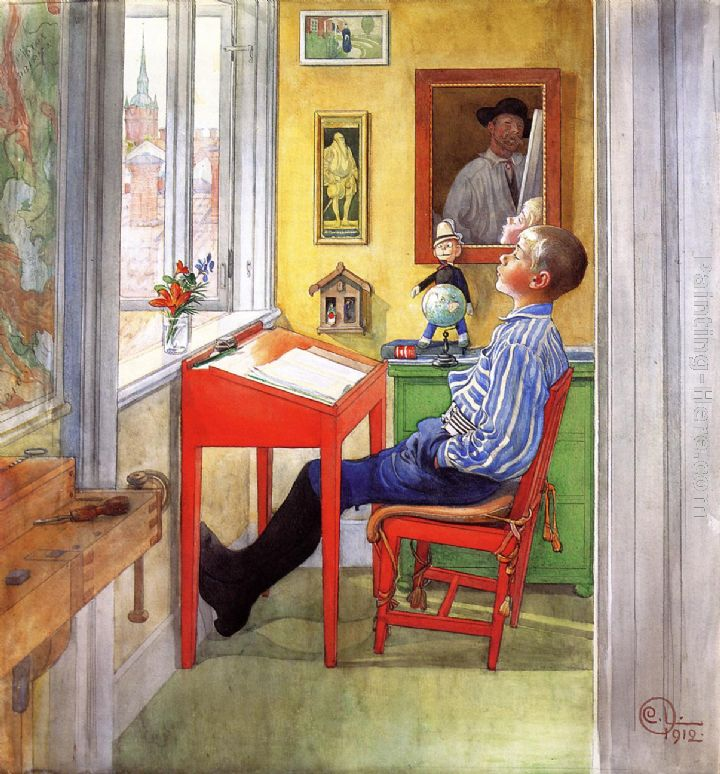 Esbjorn Doing His Homework painting - Carl Larsson Esbjorn Doing His Homework art painting