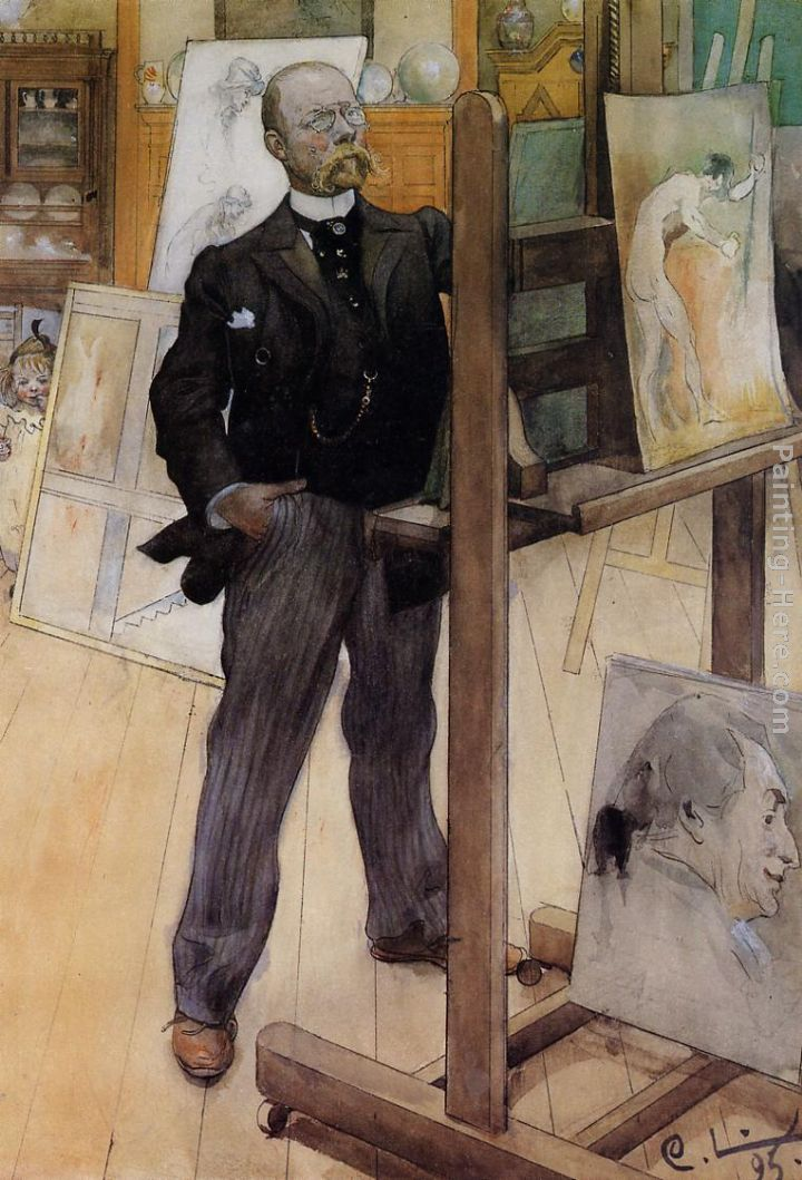 Self Portrait painting - Carl Larsson Self Portrait art painting