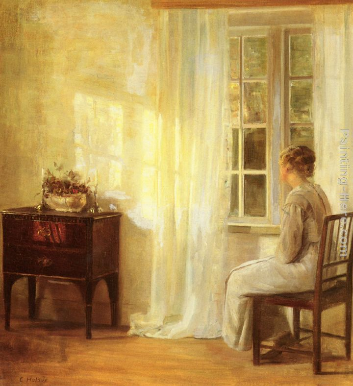 Waiting By The Window painting - Carl Vilhelm Holsoe Waiting By The Window art painting