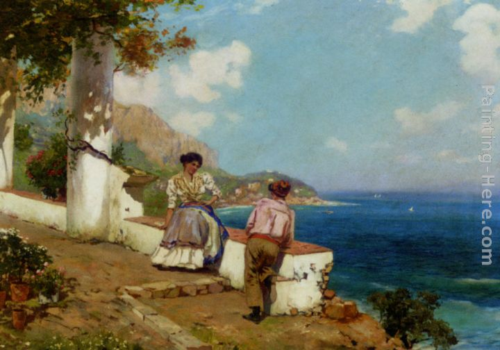 Carlo Brancaccio Courting Couple Naples Art Painting
