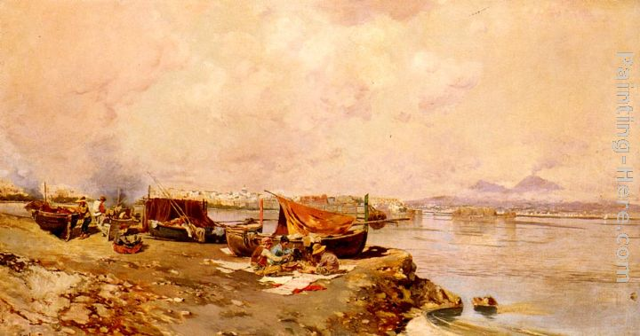 Fishermen's Tasks In The Bay Of Naples painting - Carlo Brancaccio Fishermen's Tasks In The Bay Of Naples art painting