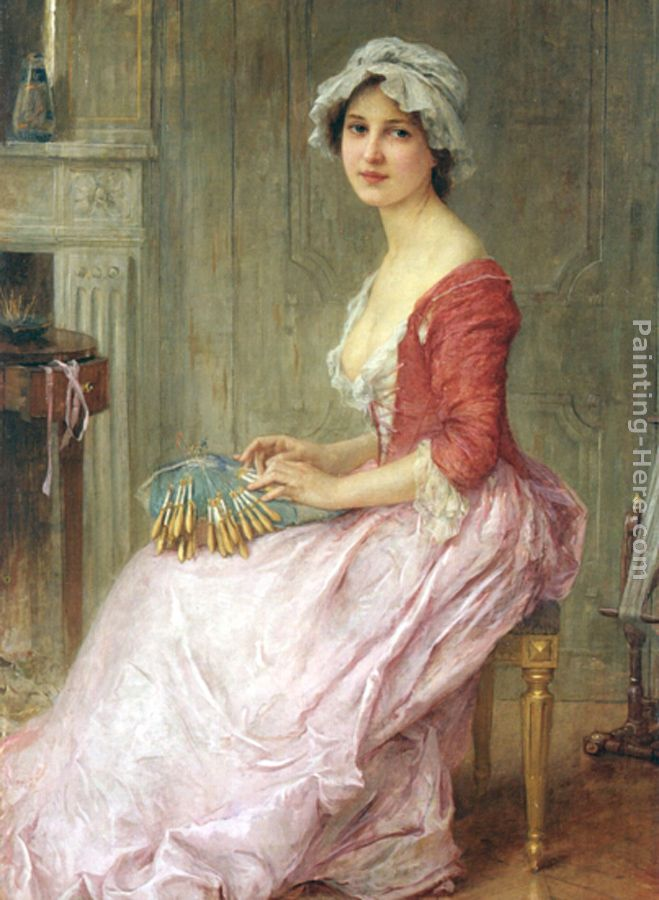 The Seamstress painting - Charles Amable Lenoir The Seamstress art painting