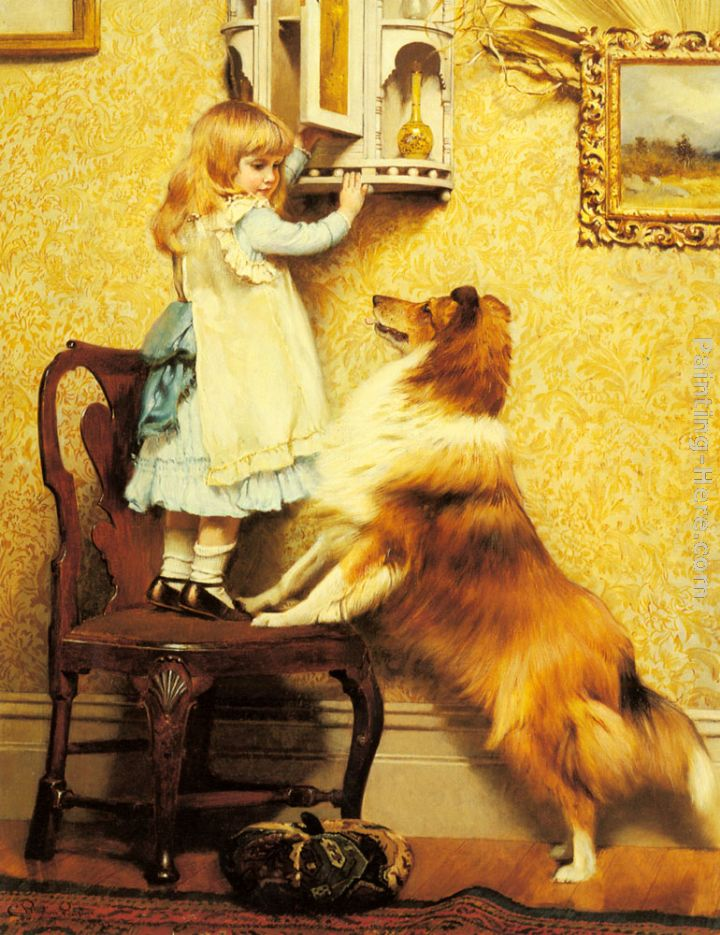A Little Girl and her Sheltie painting - Charles Burton Barber A Little Girl and her Sheltie art painting
