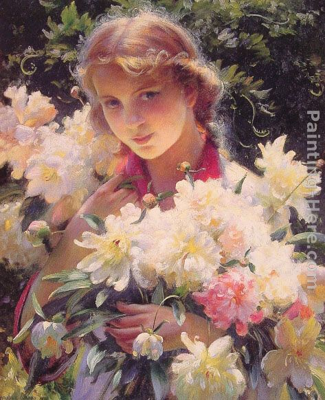 Peonies painting - Charles Courtney Curran Peonies art painting