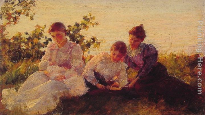 Three Women painting - Charles Courtney Curran Three Women art painting
