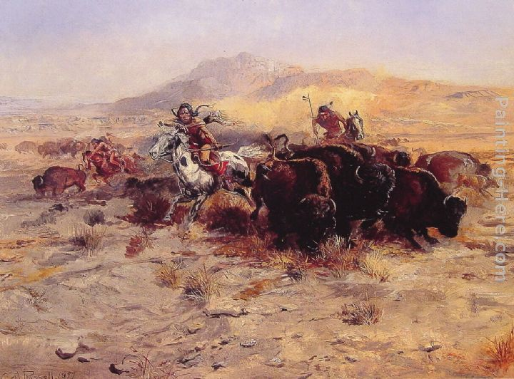 Buffalo Hunt painting - Charles Marion Russell Buffalo Hunt art painting