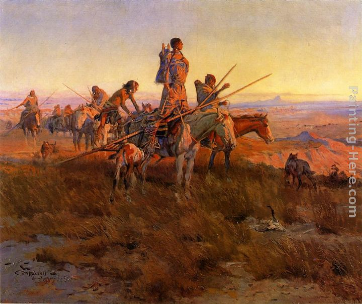 Charles Marion Russell In the Wake of the Buffalo Hunters Art Painting