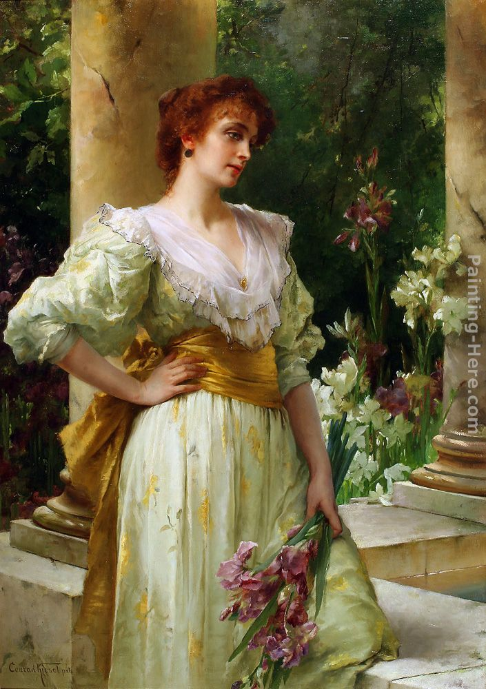 conrad kiesel woman in white holding irises painting anysize 50 off