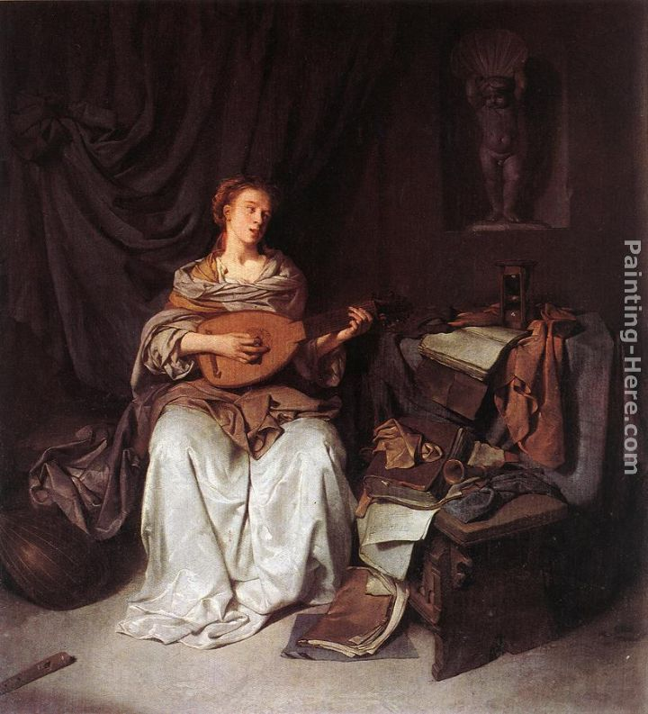 Woman Playing a Lute painting - Cornelis Bega Woman Playing a Lute art painting