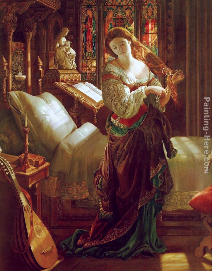 Madeline after prayer painting - Daniel Maclise Madeline after prayer art painting