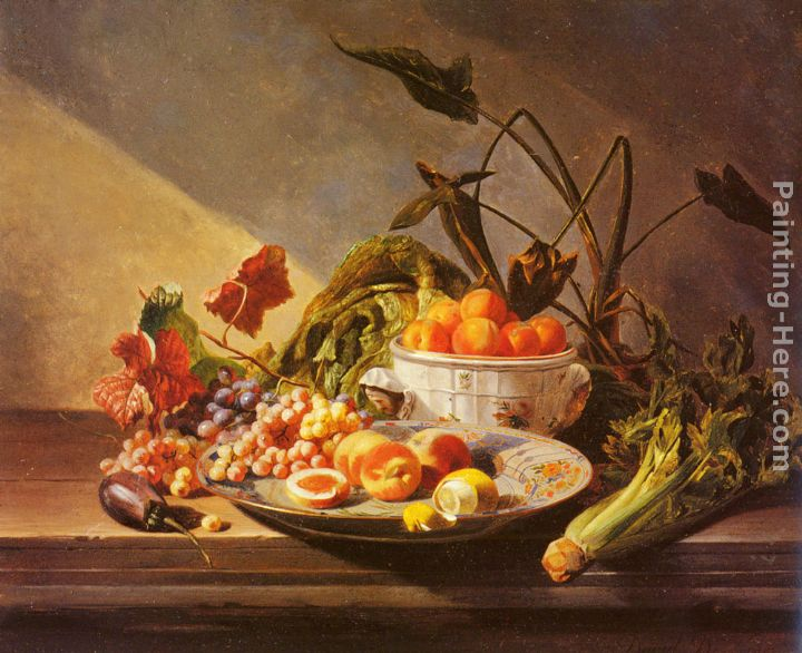 Captivating A Still Life With Fruit And Vegetables On A Table Painting   David Emile  Joseph De