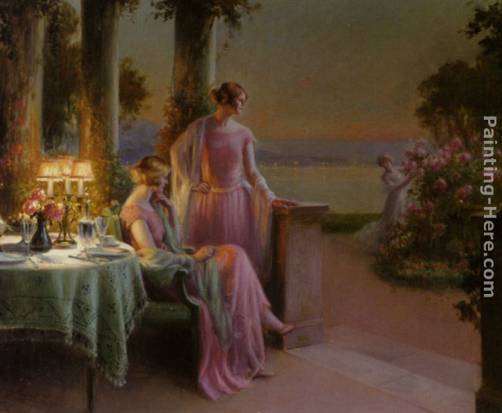 Elegant Ladies Taking Tea painting - Delphin Enjolras Elegant Ladies Taking Tea art painting