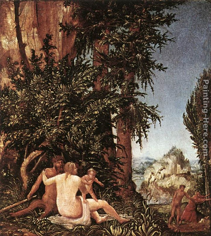 Denys van Alsloot Landscape With Satyr Family Art Painting