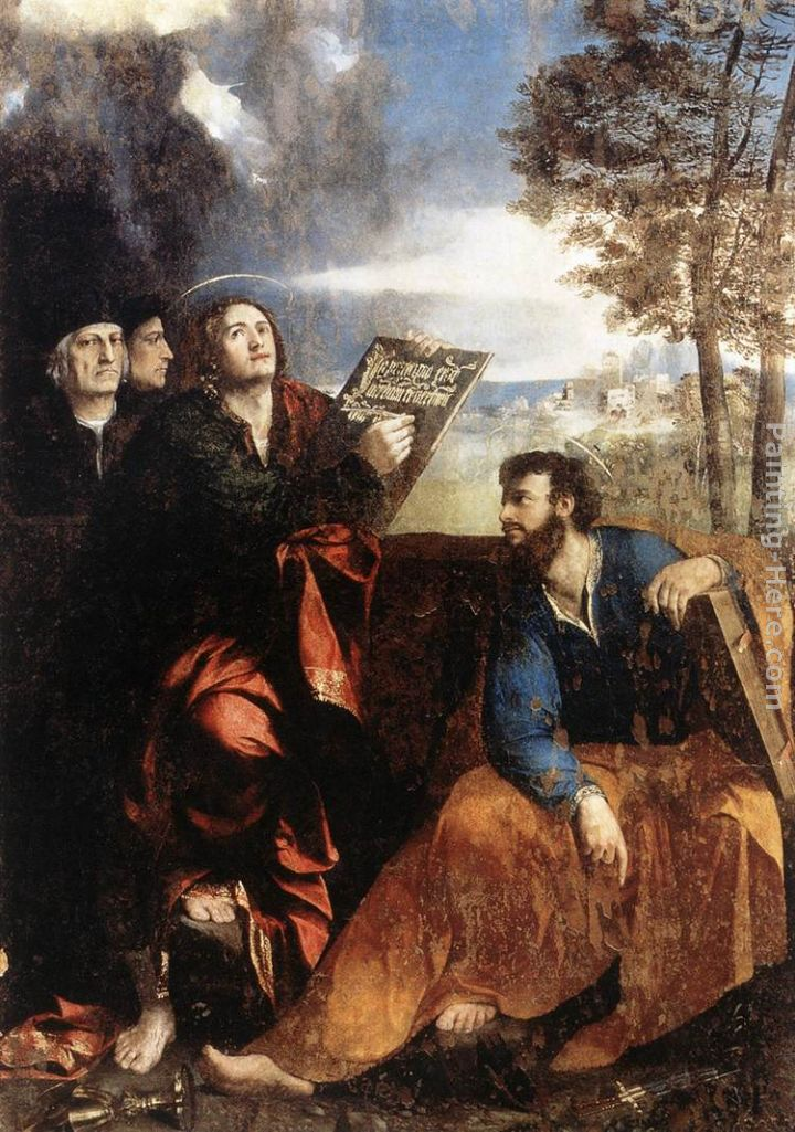 Dosso Dossi Sts John and Bartholomew with Donors Art Painting