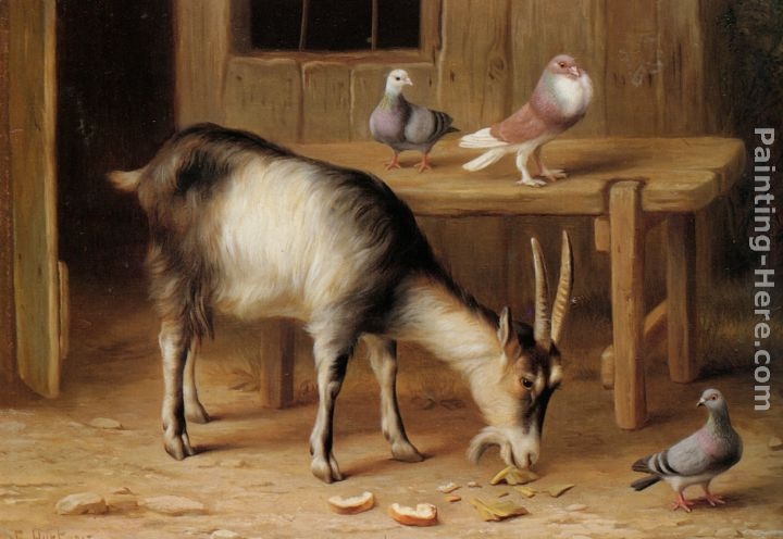 A Goat and Pigeons In a Farmyard painting - Edgar Hunt A Goat and Pigeons In a Farmyard art painting