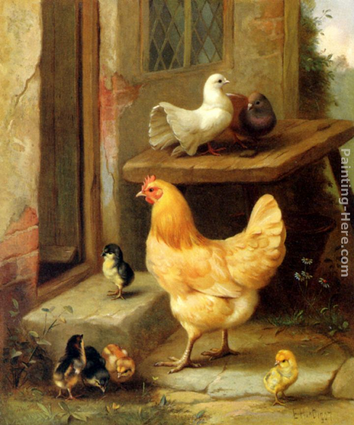 A Hen, Chicks And Pigeons painting - Edgar Hunt A Hen, Chicks And Pigeons art painting