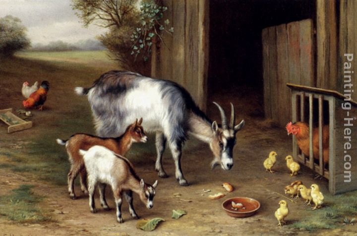 Goats And Poultry painting - Edgar Hunt Goats And Poultry art painting
