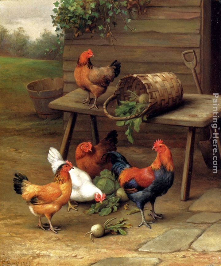 Poultry In A Barnyard painting - Edgar Hunt Poultry In A Barnyard art painting
