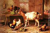 Goat and chickens feeding in a cottage interior