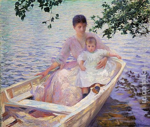 Mother and Child in a boat painting - Edmund Charles Tarbell Mother and Child in a boat art painting