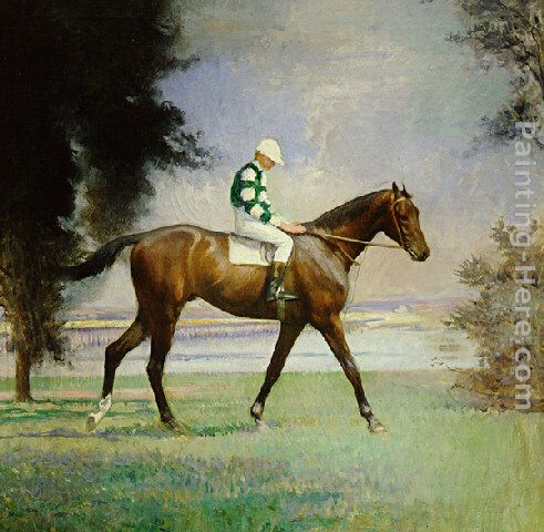 Thoroughbred with Jockey up painting - Edmund Charles Tarbell Thoroughbred with Jockey up art painting