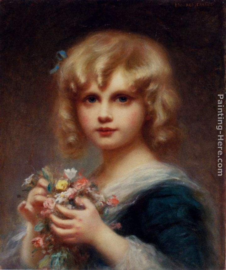 Girl With Flowers painting - Edouard Cabane Girl With Flowers art painting
