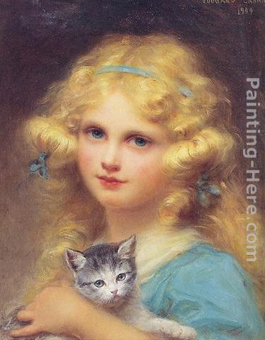 Edouard Cabane Portrait of a young girl holding a kitten Art Painting