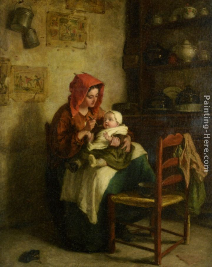 Feeding Time painting - Edouard Frere Feeding Time art painting